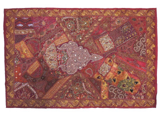 """Maroon Abstract Pattern Beaded Tapestry - Glittering Living Room Wall Hanging 60"""""""