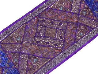 """Eclectic Purple Handmade Wall Hanging - Beautiful Patchwork Tapestry Table Runner 80"""""""