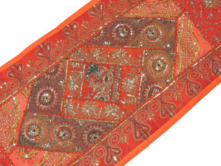 """Orange Eclectic Style Wall Hanging - Sequin Fabric Long Tapestry Table Runner 80"""""""