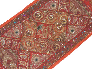 """Brown Beaded Mosaic Wall Hanging - Sequin Collage Textile Table Runner 80"""""""