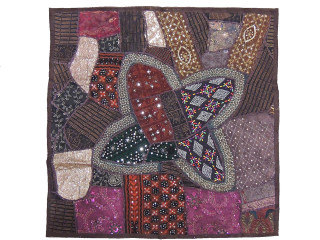 Brown Square Wall Hanging Accent - Decorative Beaded Tapestry Indian Textile 38""