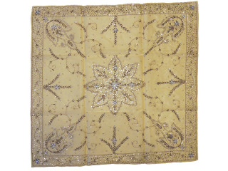 """Cream Organza Beaded Indian Tablecloth - Shimmering Reception Table Overlay ~ 40"""""""