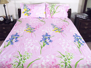 3P Pink Floral Bedroom Fine Indian Linen Cotton Bed Set