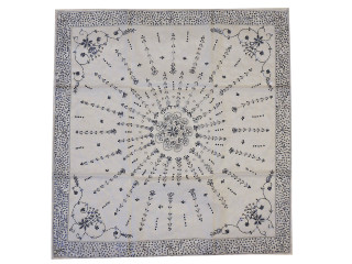 """Ivory Luxury Embroidered Beaded Tablecloth - Stylish Table Decor Overlay ~ 40"""""""