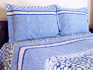 3P Cotton Indian Bedding Sheet Queen Set Pillow Shams