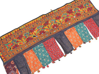 Kutch Vintage Embroidered Window Valance - Traditional Mirror Work Toran Topper 41""