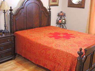 Red Mahek Kashmir Wool Bedding - Reversible Woven Floral Decorative Bedspread ~ Queen