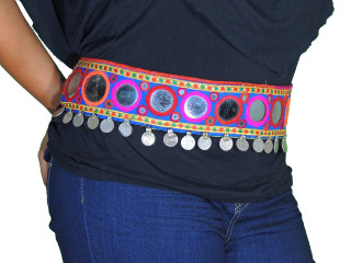 Authentic Kutch Handmade Dancer Belt - Embroidered Mirror Coin Accessory ~ One Size