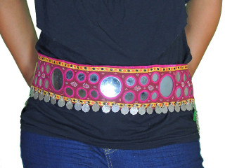 Ethnic Tribal Belly Dancing Belt - Coin Mirror Work Handmade Accessory ~ One Size