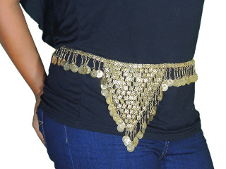 Gold Coin Gypsy Fashion Belt - Belly Dancing Hip Waist Metal Chain ~ One Size