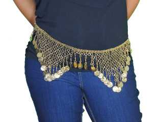 Belly Dance Fashion Hip Waist Gold Belt - Gypsy Style Metal Chain ~ One Size