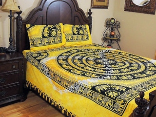 Cotton Bedding Set – Yellow India Inspired Elephants Print Sheet and Pillowcases