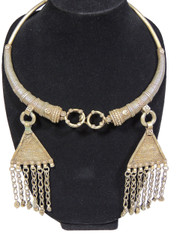 Authentic Kuchi Neck Ring Jewelry – Pewter Metal Gypsy Belly Dancer Necklace
