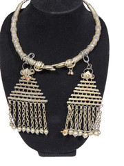 Tribal Neck Ring Jewelry Women - Belly Dancer Metal Necklace with Danglers