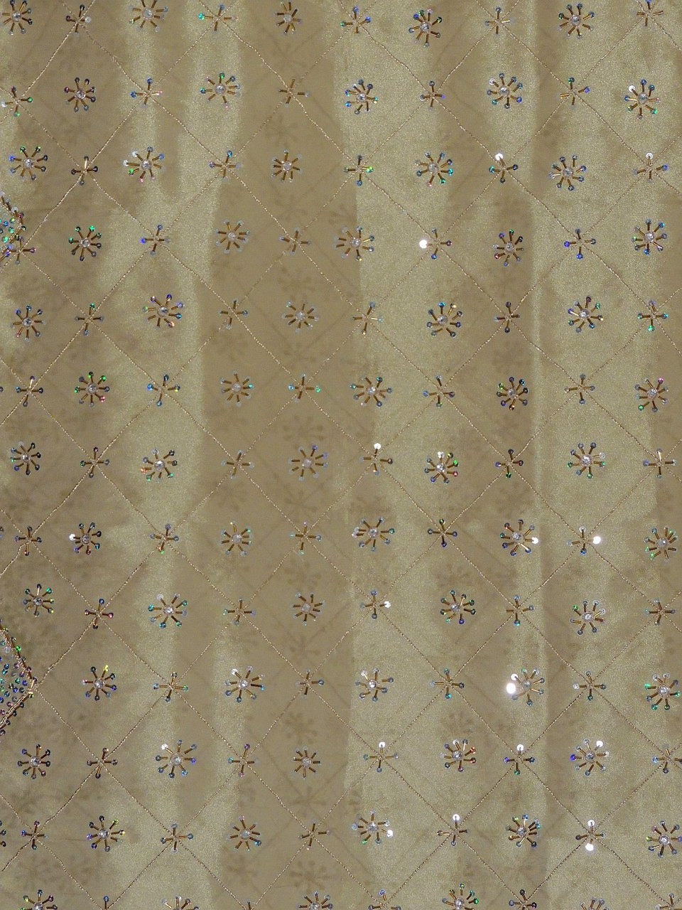 Beige Gold Sheer Curtain Panel - Hand Embroidered Beaded Window Treatments  92