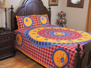 Red Orange Mandala Gajaraj Bedding Set – Cotton Dot Print Sheet Pillowcases ~ Queen