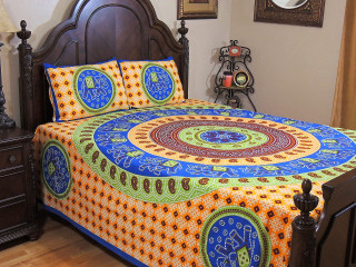 Bohemian Mandala Gajaraj Bedding Set – Cotton Dot Print Bed Sheet Pillowcases ~ Queen