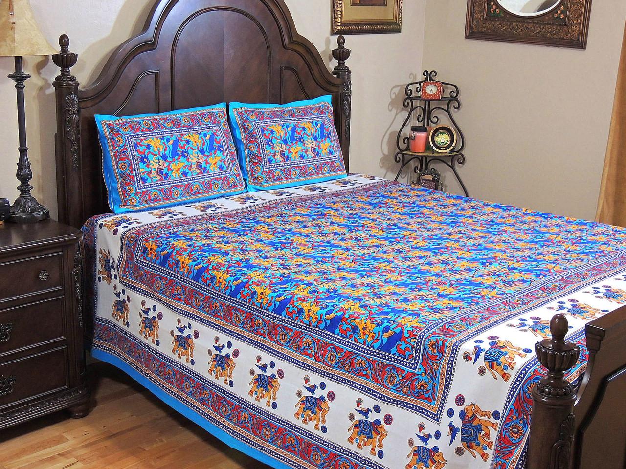 Beautiful Blue Cotton Bedspread Pillowcases – Ethnic ...