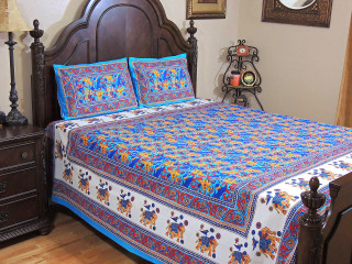 Beautiful Blue Cotton Bedspread Pillowcases – Ethnic Indian Inspired Printed Set ~ Queen