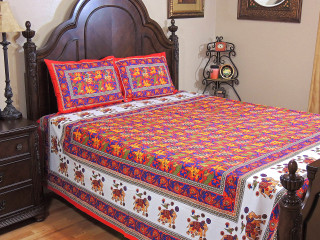 Luxurious Red Cotton Bedspread Pillowcases – Ethnic Indian Inspired Printed Set ~ Queen