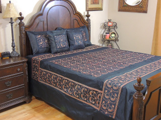 Black Gulmohar Embroidered Bedding - 5P Bollywood Style Bohemian Set ~ Queen