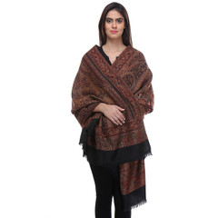 """Dressy Indian Shawl with Crewel Embroidery - Dark Maroon Paisley Wool Scarf 80"""""""