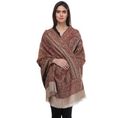 Beige Maroon Kashmir Embroidered Scarf - Paisley Wool Fashion Shawl Wrap 80""