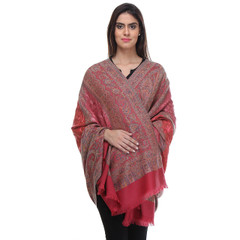 """Pink Embroidered Luxury Shawl Wrap - Paisley Wool Long Designer Scarf 80"""""""