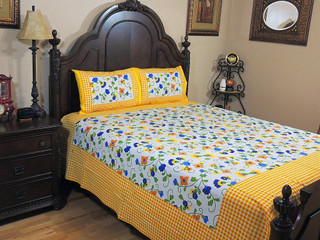 Cotton Block Print Bedding 3P Ethnic Bedroom Beautiful Bed Sheet Linens Set