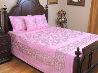 Pink Lata Sequin Bollywood Bedding - 5P Decorative Luxurious Set ~ Queen