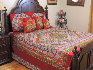 Maroon Duvet Cover Set - Embroidered Indian Bedding Pillow Shams Cushion Covers - King