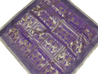 Purple Elephant Brocade Tablecloth - Zari Indian Table Overlay Topper 48""