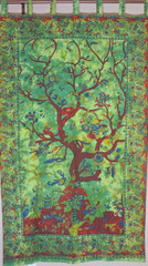Green Tree of Life Curtain - Unique Cotton Print Window Treatments Panel 80""