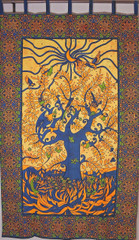 """Bohemian Multicolor Tree of Life Curtain - Cotton Print Indian Window Coverings Panel 80"""""""
