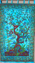 Blue Tree of Life Curtain - Unique Cotton Print Window Treatments Panel 80""