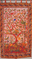 Terracotta BrownTree of Life Curtain - Unique Cotton Print Window Treatments Panel 82""
