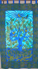 Bohemian Blue Green Tree of Life Curtain - Cotton Print Indian Window Coverings Panel 82""