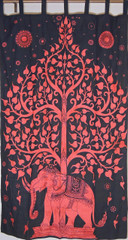 Vermilion Red Elephant Curtain Panel - Tree of Life Window Treatments 82""