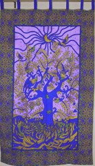 Tree of Life Curtain Panel - Purple Blue Cotton Print Indian Window Treatments 82""