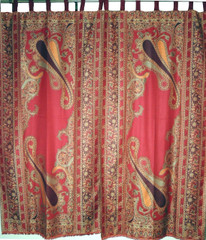 Maroon Paisley Woven Curtain Panels - Jamawar Indian Tab Top Window Treatments 84""