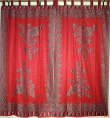 Decorative Stylish Maroon Paisley Curtains - Jamawar Woven Tab Top Window Treatments 84""