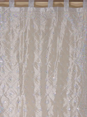 Silver Zardozi Sheer Curtain Panel - Hand Embroidered Beaded Window Treatments 92""