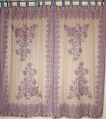 Beige Traditional Indian Window Treatments - 2 Woven Paisley Jamawar Panels 84""