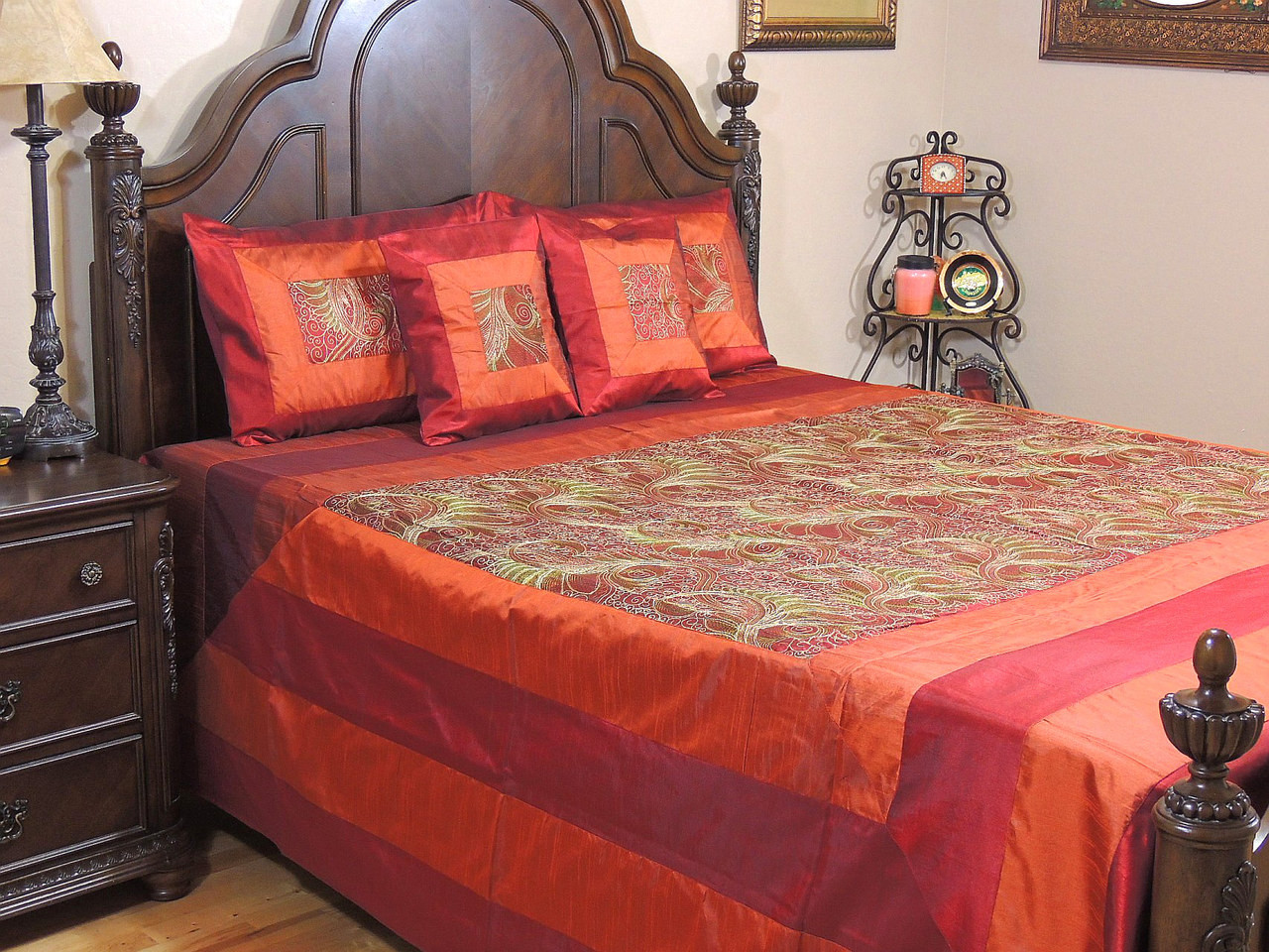 Brown and orange bedding - Brown Mor Pankh Bollywood Bedding 5p Decorative Embroidered Set Queen
