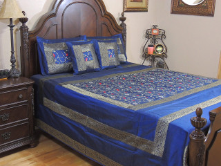 Blue Gulistaan Indian Bedding - 5P Decorative Floral Embroidered Ensemble ~ Queen