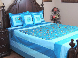 Blue Gulshan Luxury Indian Bedding - 5P Floral Embroidered Ensemble ~ Queen