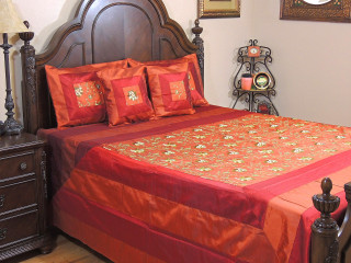 Brown Gulshan Luxury Indian Bedding - 5P Floral Embroidered Ensemble ~ Queen