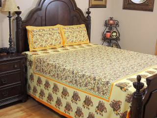 Yellow Elephant Cotton Bedspread Pillowcases – Ethnic Print Bed Linens Set ~ Queen