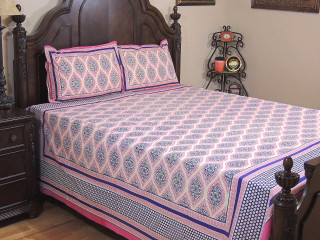 Pink Paisley Cotton Bedspread Pillowcases – Ethnic Print Indian Bed Linens ~ Queen