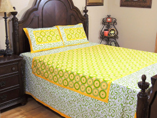 Yellow Cotton Print Bedspread Pillowcases – Traditional Indian Bedding ~ Queen